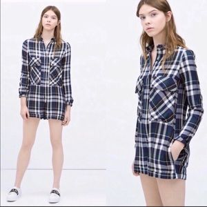 Zara plaid Romper with multi pockets size S